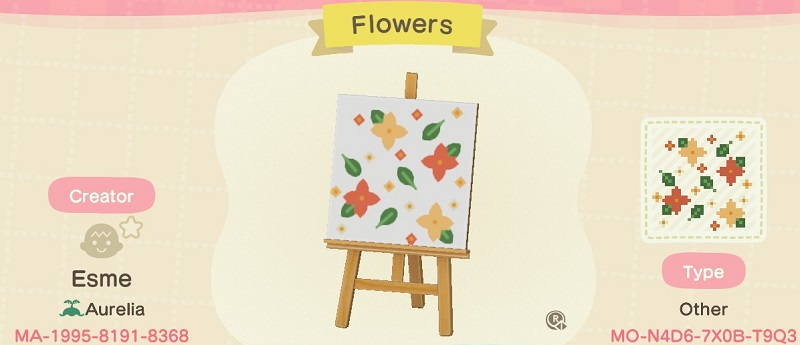 ACNH Fall Patterns & Custom Design Code - Autumn Flower