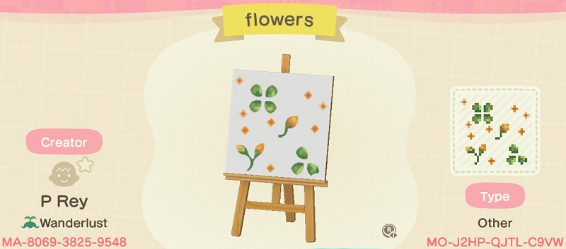 ACNH Fall Patterns & Custom Design Codes - Autumn Flower 2