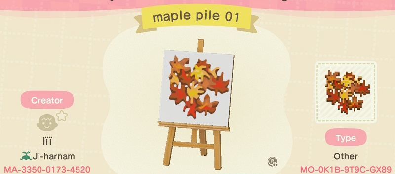 ACNH Fall Patterns & Custom Design Codes - Maple Pile