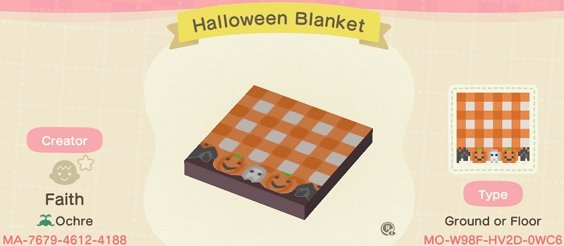 ACNH Fall Patterns & Custom Design Code - Halloween Blanket Floor Pattern