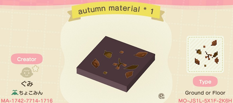 ACNH Fall Patterns & Custom Design Codes - Autumn Material Floor Pattern