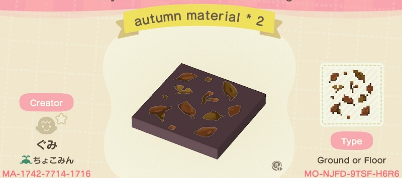 ACNH Fall Patterns & Custom Design Codes - Autumn Material Floor Pattern 1