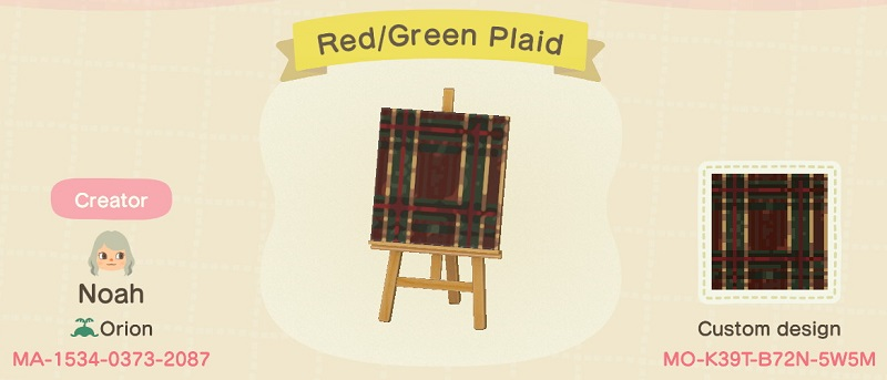 ACNH Fall Patterns & Custom Design Codes - Red & Green Plaid Pattern