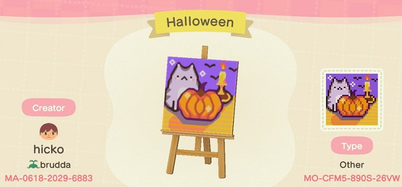 ACNH Fall Patterns & Custom Design Code - Halloween Flag