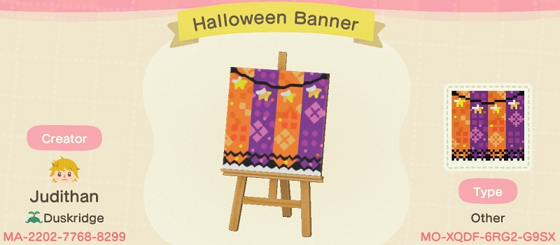 ACNH Fall Patterns & Custom Design Codes - Halloween Banner