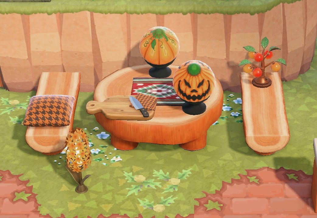 ACNH pumpkin carving table